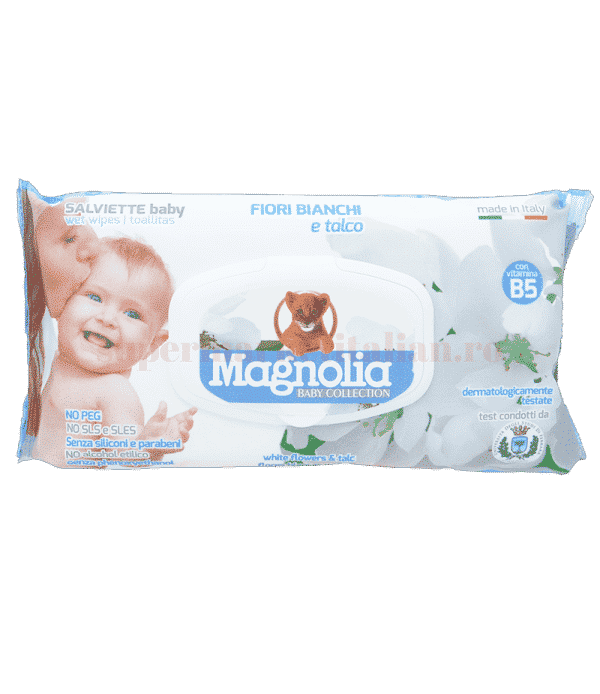 magnolia baby collection fiori bianchi e talco front